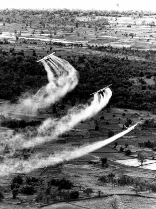 1966: US Air Force planes spray Agent Orange over South Vietnam.
