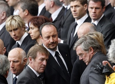 Benitez attending a memorial ceremony for the Hillsborough disaster in 2009.