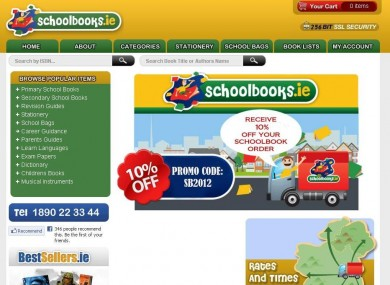 The homepage of Schoolbooks.ie yesterday