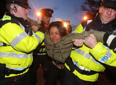 Shell to Sea activists clash with Gardai after they blocked the path of Shell machinery in Co Mayo in July. The group says Ireland's oil and gas reserves are worth €1.6 trillion.
