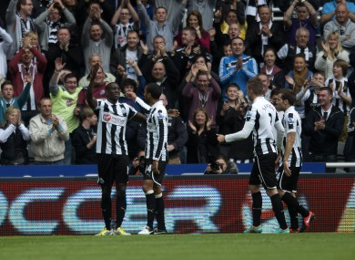 Newcastle United's Demba Ba celebrates scoring his side's only goal against Norwich.