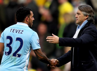 Friendly: Roberto Mancini and Carlos Tevez.