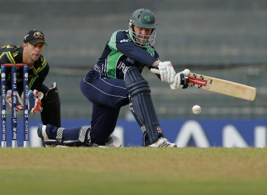 Ireland's batsman Niall O'Brien in action against Australia at the T20 World Cup last week.