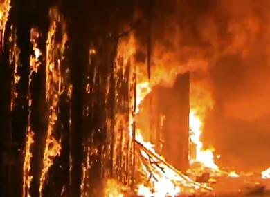 The blaze swept through the medieval market in Aleppo, Syria.