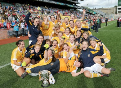 The Antrim players celebrate in Croke Park yesterday.