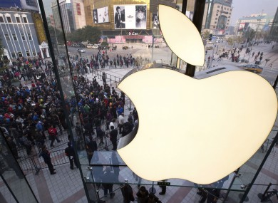 The newly-opened Apple Store in Wangfujing shopping district in Beijing last Saturday.