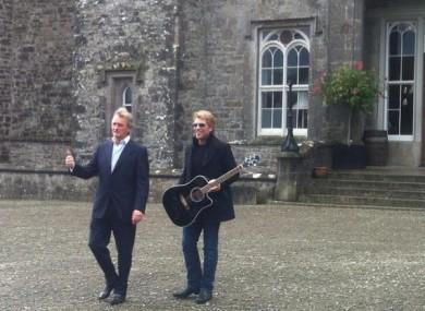Jon Bon Jovi with Lord Henry Mountcharles at Slane Castle this morning