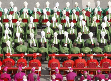 Bishops and cardinals attend a mass at St Peter's Square at the Vatican earlier this month