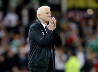 Giovanni Trapattoni watches on as Ireland are humiliated by Germany.