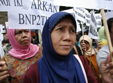 Indonesian's protesting against the abuse of Indonesian Maids in Malaysia in 2007 (file photo).