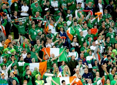 Ireland fans sing The Fields of Athenry during the game against Spain