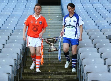 Mags McAlinden of Armagh with Waterford's Michelle McGrath who contest the Intermediate final.