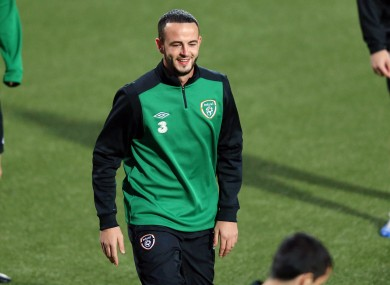 Marc Wilson training yesterday.