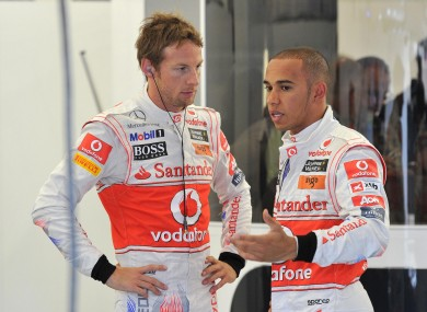 Jenson Button and Lewis Hamilton. File photo.