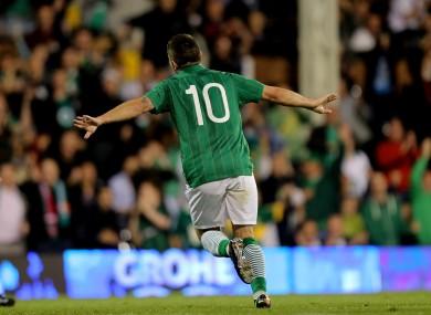 Young gun: Robbie Brady celebrates a goal in last month's friendly against Oman.