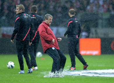 England manager Roy Hodgson has a kick-about.