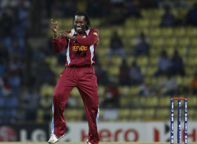 Chris Gayle celebrates taking a wicket in the T20 World Cup.