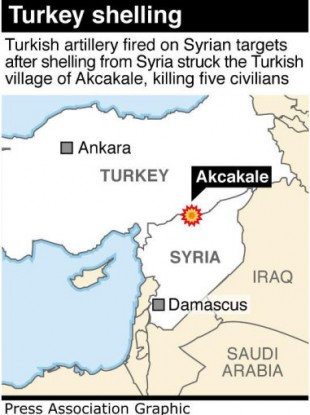 The Turkish village of Akcakale, which was shelled by Syria.