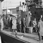 In a dark chapter of American history, this picture shows Japanese nationals being taken on board a coast guard patrol boat by detectives on 8 December, 1941 for detention on Ellis Island as part of the nationwide round-up of Japanese nationals during WWII. (AP Photo)