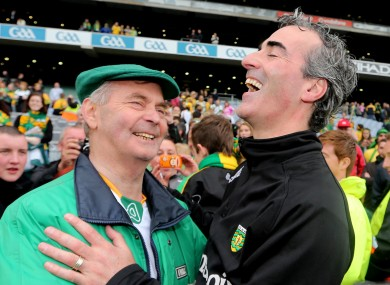 Brian McEniff and Jim McGuinness at Croke PArk after the All-Ireland final last September.