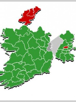 The two Donegal constituencies and Dublin North West, marked in red, were the three constituencies to reject the referendum proposal.