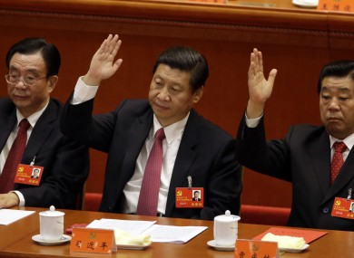Chinese vice President Xi Jinping, center, at the closing ceremony for the 18th Communist Party Congress.