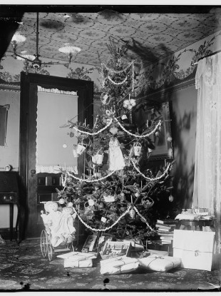 One seriously decked-out Christmas tree at the Wright family home, 1900.