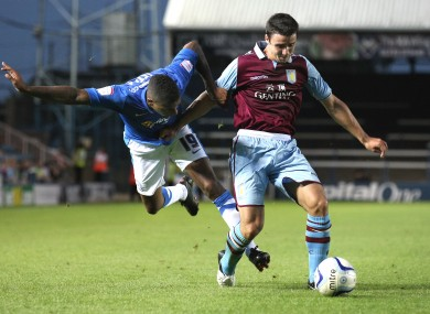Stevens featuring for Villa against Peterborough in a pre-season friendly.