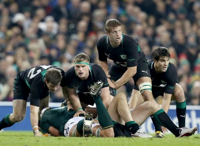 Jamie Heaslip, Chris Henry and Conor Murray in action against South Africa.