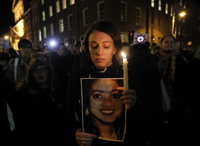 A candlelit vigil was held for Savita outside Leinster House in Dublin last night