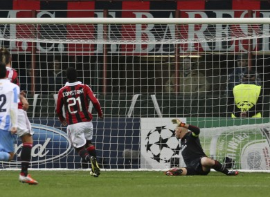 Malaga midfielder Eliseu, of Portugal, second from right, scores.