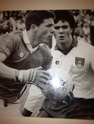 PHOTO: Celtic manager Neil Lennon, wearing Mikasa gloves, playing for Armagh's minors