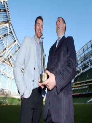 Padraic Maher with former Tipp manager Liam Sheedy at the Aviva Stadium yesterday.
