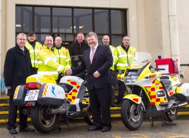Minister James Reilly with the Blood Bikers