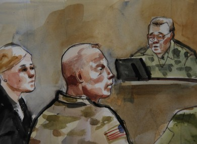 Courtroom sketch shows US Army Staff Sgt Robert Bales, centre