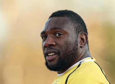 Springbok player Tendai Mtawarira during training at Blackrock RFC last week.