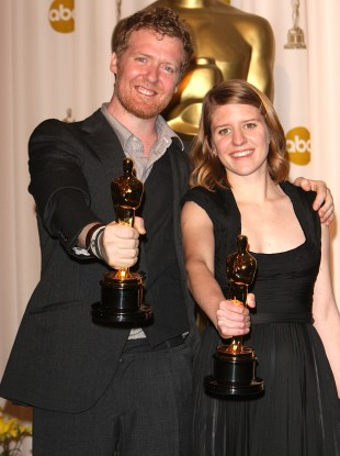 Glen Hansard and Marketa Irglova with the award for Achievement in Music Written for Motion Pictures (Original Song) received for Once