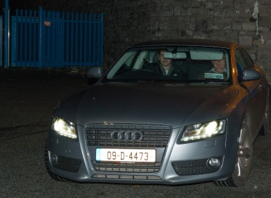 Sean Quinn (right) leaving prison early this morning,
