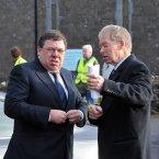 Former Taoiseach Brian Cowen and Mícheál Ó Muircheartaigh.
