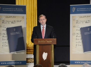 Taoiseach Enda Kenny addresses the Constitutional Convention in Dublin Castle yesterday.