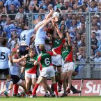 Who wants the ball? Dublin players rise to punch the ball into the net and Mayo players rise to protect their goalmouth. It's a frantic conclusion to their All-Ireland semi-final meeting. (INPHO/Cathal Noonan).
