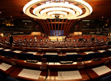 General view of the plenary room of the Council of Europe in Strasbourg, eastern France.