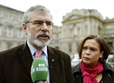 Gerry Adams speaking outside Leinster House earlier this week