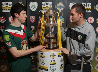 Cork City's John Dunleavy with Cliftonville's Ciaran Caldwell at today's draw.