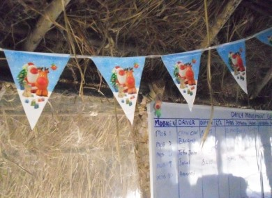 A small touch of Christmas cheer in the GOAL main office in Maban County, South Sudan.