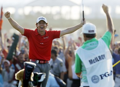 Rory McIlroy celebrates his US PGA win in August.