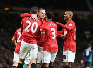 United celebrate after Wayne Rooney's goal against Sunderland.