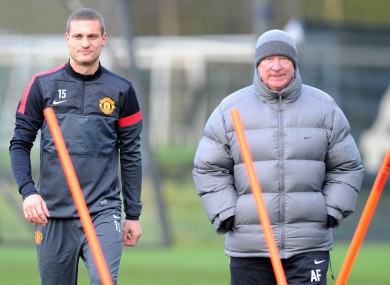 Vidic and Ferguson at training this week.