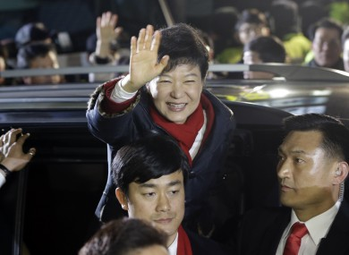 Park Geun-Hye waves to supporters in Seoul earlier.