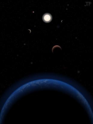 Artist's impression of the Tau Ceti system